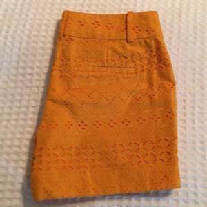 Loft orange riviera lace shorts